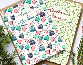 Pack of four pattern Christmas cards