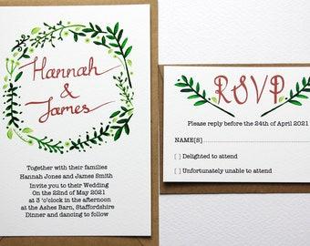 Fern wedding invitation set