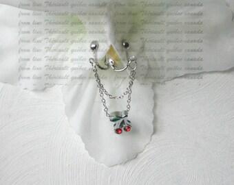Clit Clip , Non piercing labia clip, Non Piercing Clitoris Labia Intimate Jewelry, Dangle Sexy Wife, Cherry  (m5)