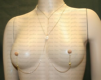 Nipple jewelry with chains - Nipple fake piercing- XXX jewelry- BDSM - Non-pierced nipple jewelry  with free form fresh water pearl (m18)