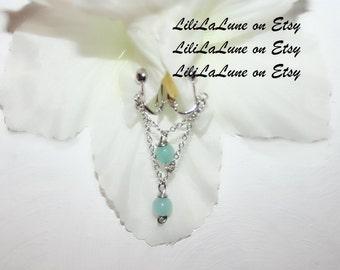 Clit Clip , Non piercing labia clip, Non Piercing Clitoris Labia Intimate Jewelry, Dangle Sexy Wife, Blue  jade (m1)
