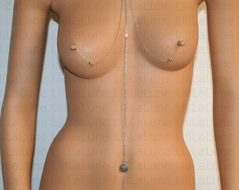 Nipple jewelry with chains - Nipple fake piercing - choker- Non-pierced nipple jewelry bra chains (m36 modifié clit clip m2))