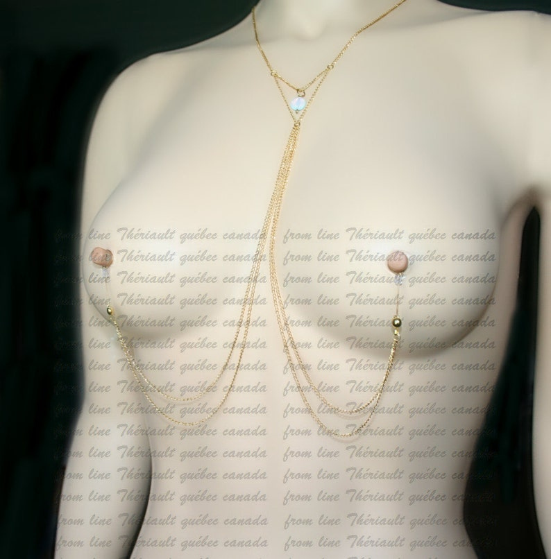 Nipple jewelry with chains Non-pierced nipple jewelry with opalite  coin m2 chain1 Nipple fake piercing