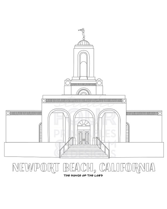 image about Lds Printable Coloring Pages named PRINTABLE Newport Seashore, California LDS Temple Coloring Site -- PDF Electronic Document