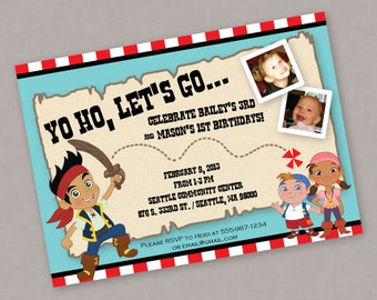 Custom PRINTABLE Jake and the Neverland Pirates Birthday Invitation - Digital File