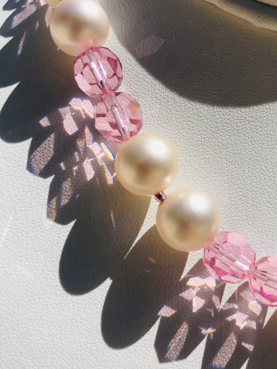 Marvella Pink Faceted Glass Bead Faux Pearl Vinta… - image 5