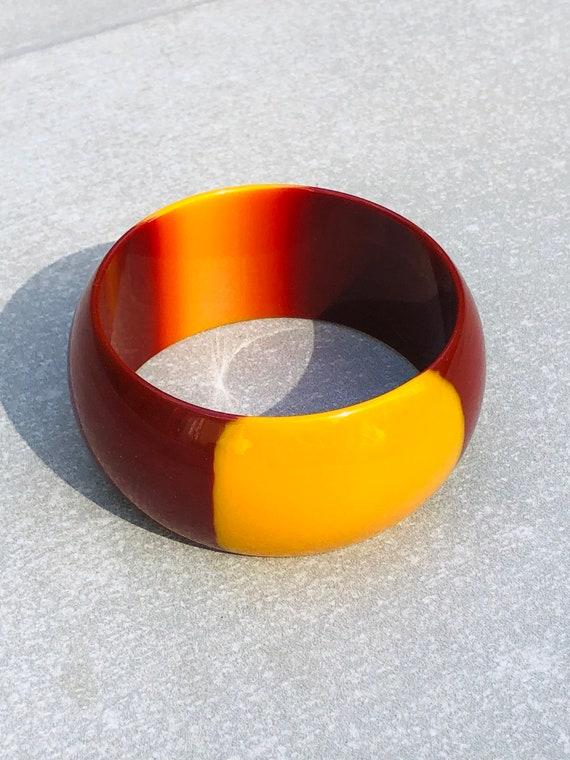 Two Tone Lucite Vintage Wide Bangle Bracelet - image 2