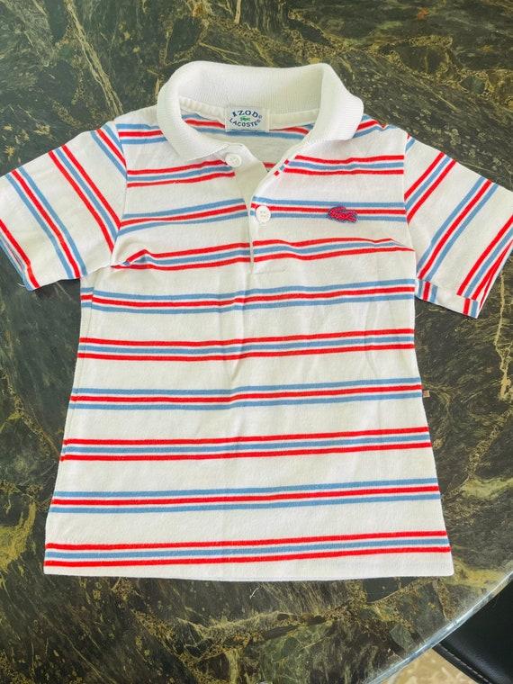 Vintage Izod Lacoste Kids Striped Polo 80s Shirt B