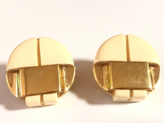 Lanvin Paris Ivory Lucite Vintage Clip On Gold Ea… - image 1