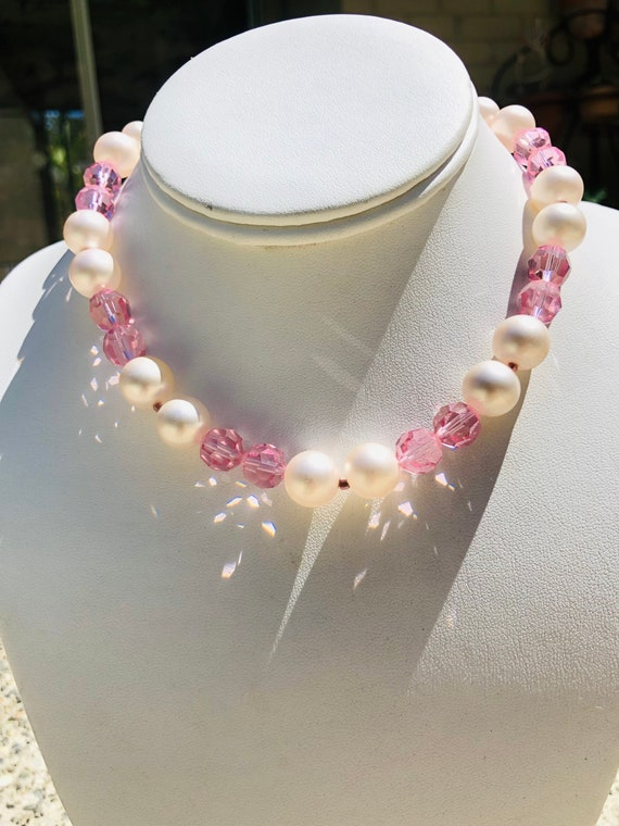 Marvella Pink Faceted Glass Bead Faux Pearl Vinta… - image 2