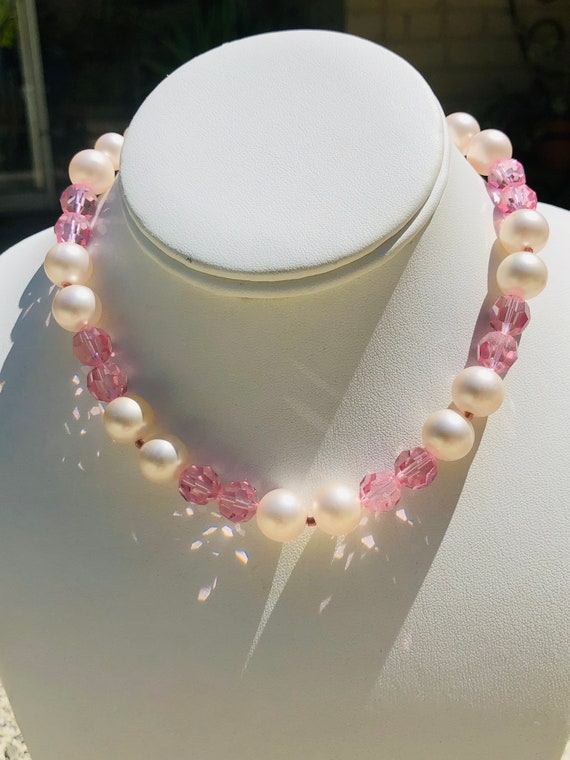 Marvella Pink Faceted Glass Bead Faux Pearl Vinta… - image 6