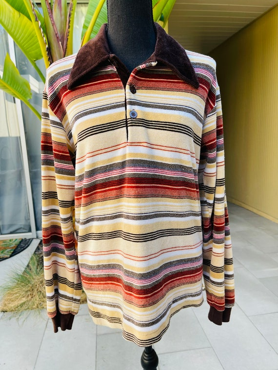 70s Velour Striped Pullover Sweater Long Sleeve Te