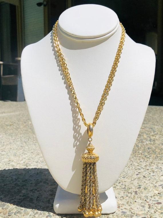 Vintage Gold Tassel Multi Chain  Necklace - image 2