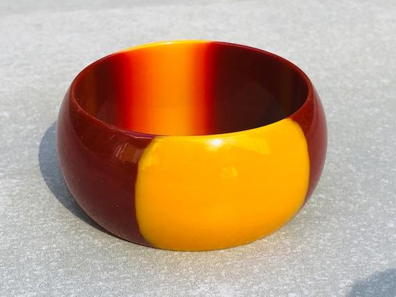Two Tone Lucite Vintage Wide Bangle Bracelet - image 1