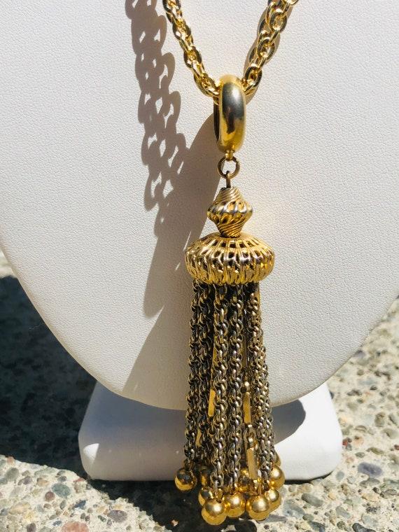Vintage Gold Tassel Multi Chain  Necklace - image 1