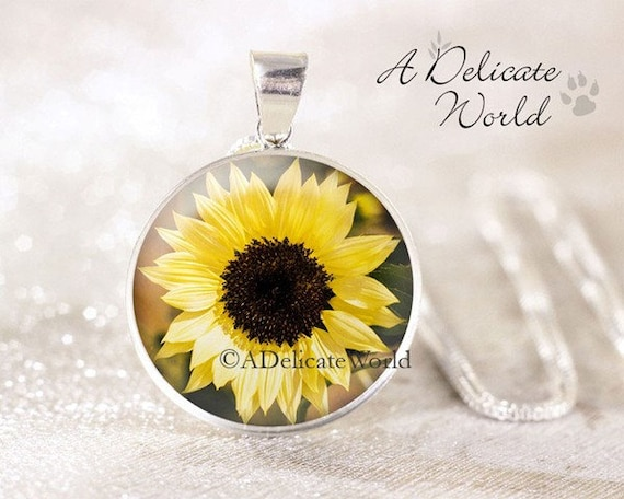 M//A Sunflower That Holds 4 Pictures Locket Pendant Necklace Memorial Wild Flower Cute Drop for Girl Women