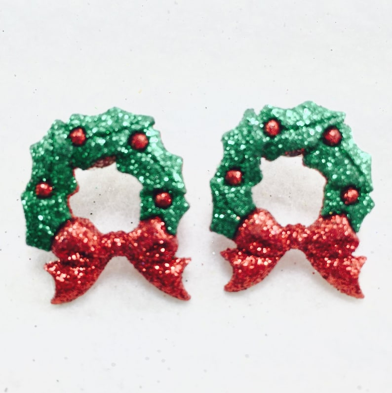 25fd20bb65ac0 Christmas Stud Earrings, Christmas Wreath Earrings, Green Glitter Earrings,  Holiday Post Earrings