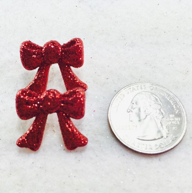 Christmas Stud Earrings Holiday Post Earrings Red Glitter Earrings Christmas Bow Earrings