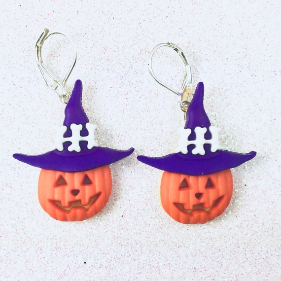 vtg jack-o-lantern pumpkin harvest fall charm earrings