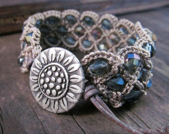 Bohemian Beaded Bracelet or Cuff, earthy brown and blue, sunflower button