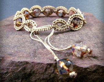 Earthy Bohemian Crochet Bracelet - adjustable, Rustic Crystal