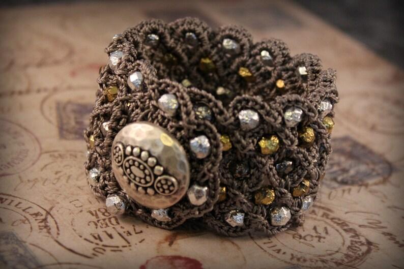 Bohemian Jewelry Multi Metallic Beaded Bracelet Wide Cuff Bracelet in Mixed Metal Shades