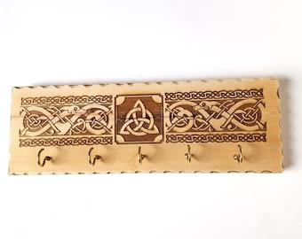 Decorative Celtic Key Hanger, Celtic Knot Wooden Wall Mounted Hook Organizer