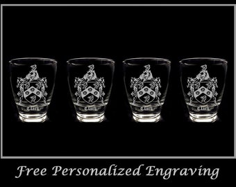 Free Personalized Engraving and Free Shipping Clark English Family Coat of Arms Shot Glass 1.5oz
