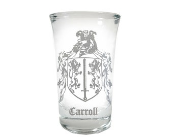 Free Personalized Engraving Brown Irish Family Coat of Arms Shot Glass 2oz Set of 6