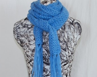 Soft Cornflower Blue Crochet Alpaca Wool Scarf, Openwork Fringe Scarf, Light Blue Ladies Scarf