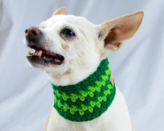 Green Striped Crochet Dog Scarf, Collar Style, Made to Order, Vegan Dog Scarf, St Patricks Day, Dog Snood