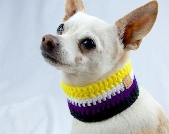 Yellow White Purple Black Crochet Dog Scarf, Non-Binary Pride, Collar Style, Made to Order, Vegan Dog Scarf, LBGT Pride Flag