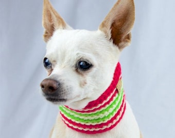 Hot Pink Lime Green and White Striped Crochet Dog Scarf, Collar Style, Made to Order, Vegan Dog Scarf, Spring Season Dog Snood