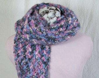 Pink, Blue, Cream and Gray Crochet Mohair Wool Scarf; Warm Winter Wool Scarf, Wool Neck Warmer
