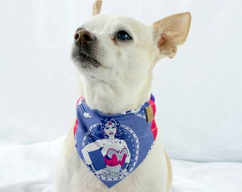 Hot Pink Purple Wonder Woman Dog Bandana, Reversible Dog Bandana, Slip-on Collar Dog Bandana, Reversible Dog Scarf, Girl Power Dog Scarf