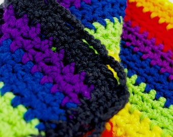 Rainbow Dog Afghan, Black Wavy Boarder Crochet Puppy Blanket, Crochet Animal Blanket, Pet Bedding, Dog Cat Blanket, LBGTQ, Dog Pride Afghan