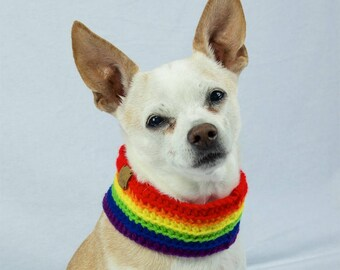 Rainbow Crochet Dog Scarf, Collar Style, Made to Order, Vegan Dog Scarf, LBGTQ Pride Dogs