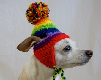 Rainbow Pom Pom Crochet Dog Hat with Ear Flaps with Ties, Cute Dog or Cat Crochet Hat, LBGTQ Pride Dog Hat - Made to Order