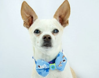 Blues and Buttons Dog Bow Tie, Pet Bow Tie, Made to Order Dog Bow Tie, Blue Dog Bow Tie