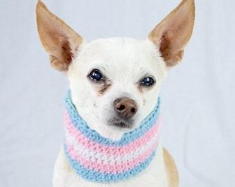 Pink Blue White Crochet Dog Scarf, Transgender Pride, Collar Style, Made to Order, Vegan Dog Scarf, Trans Flag, LBGT
