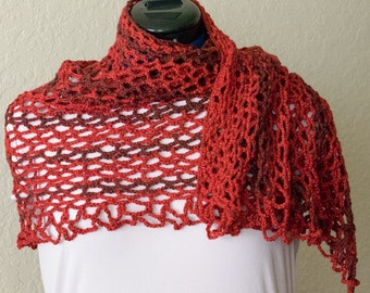 Lightweight Lacy Openwork Hibiscus Red Crochet Shawl, Ladies Summer Shawl, Woman's Small Day Wrap