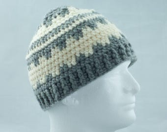 Gray and Cream Wool Blend Crochet Fair Isle Hat, Nordic Unisex Winter Cap, Ski Hat