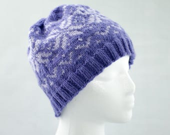 Purple and Lilac Knitted Fair Isle Winter Hat, Nordic Snowflake Cap, Woman's Ski Hat