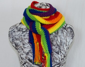 Brilliant Rainbow Crochet Fringed Scarf, Vegan Crocheted Winter Scarf, Love Wins, Gay Pride Scarf