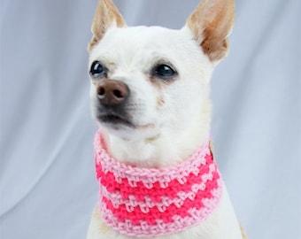Pink Striped Crochet Dog Scarf, Collar Style, Made to Order, Vegan Dog Scarf, Spring Season Dog Snood