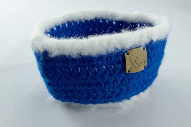 Collar Style Made to Order Holiday Dog Scarf Sparkly Royal Blue and White Crochet Dog Scarf