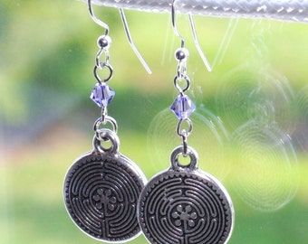 SALE - Silver pendant earrings with purple Swarovski Crystals