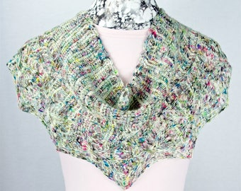 Tunisian Crochet Hand Painted Superwash Merino Wool Shawl, Detailed Lace Lightweight Fiber Stole, Wearable Fiber Art, Tunisian Crochet Wrap