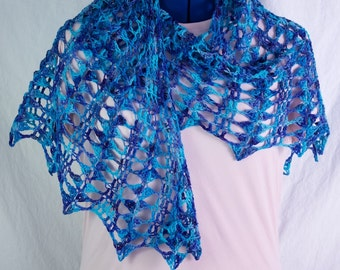 Fine Lacy Openwork Blue Merino Wool Crochet Shawl, Detailed Lace Lightweight Fiber Stole, Wearable Fiber Art