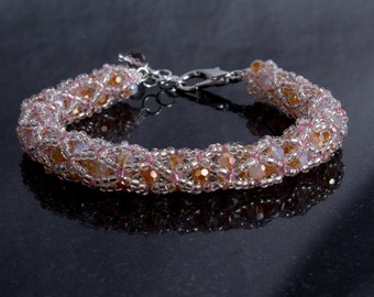 Pink and Amber Czech Glass Netted Bead Bracelet with Lobster Clasp, Neutral Beaded Wrist Wrap